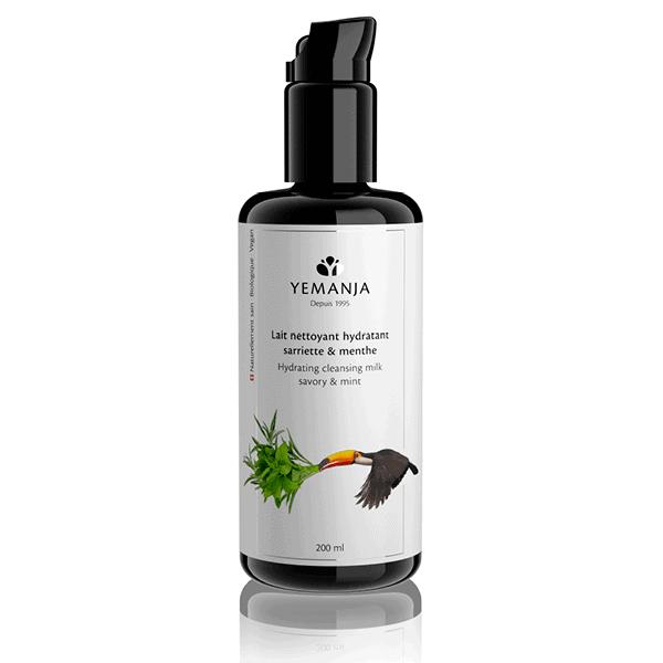 Bouteille de 200ml de lait nettoyant Yemanja, en verre miron noir et à l'étiquette blanche sur laquelle figure un toucan.
