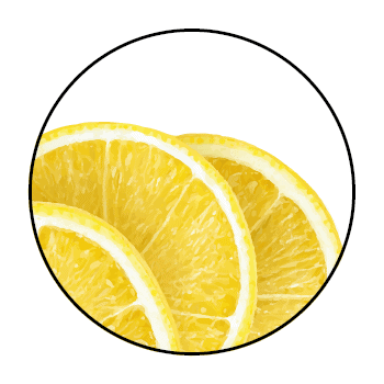 3 lemon slices in a circle, on white background.