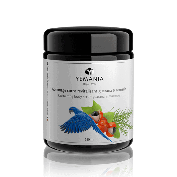 A 250ml jar of Yemanja body scrub, in black miron glass with a white label featuring a blue parrot.