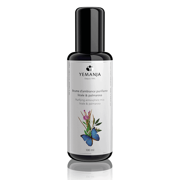 A 100ml bottle of Yemanja ambient mist, made of black miron glass with a white label featuring a blue butterfly.