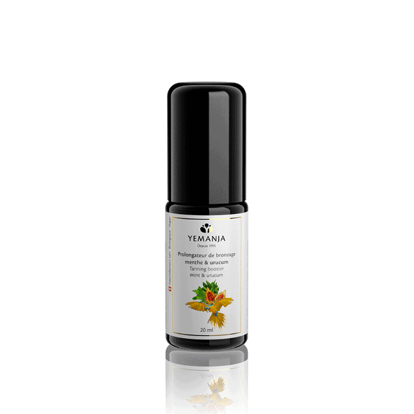 A 20ml bottle of tan extender, in black miron glass and with a white label on which appears a yellow parrot.
