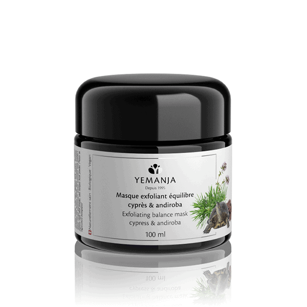 A 100ml Yemanja exfoliating mask jar, in black miron glass and with a white label with a turtle on it.
