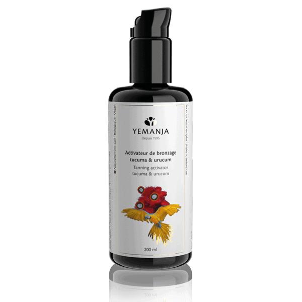 200 ml Flasche Bräunungsaktivator, aus schwarzem Mironglas und mit einem weißen Etikett, auf dem ein gelber Papagei erscheint.
