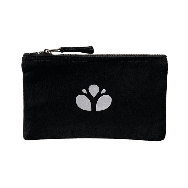 Black clutch bag in ethical cotton with the Yemanja logo printed in white in the middle.