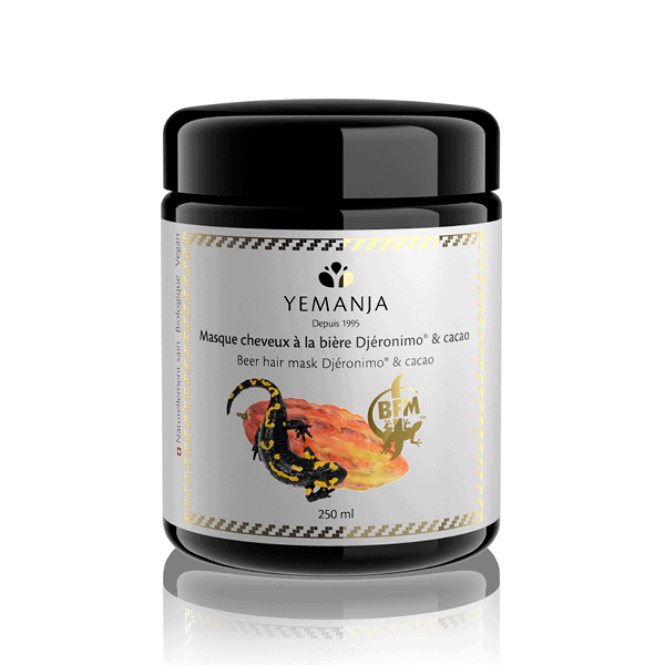 A 250ml jar of hair mask with Djéronimo® beer and cocoa, with a cocoa bean and a salamander on the label.