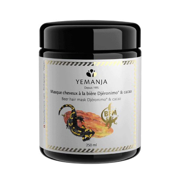 Un pot de 250ml de masque cheveux à la bière Djéronimo® et cacao, avec une fève de cacao et une salamandre sur l'étiquette.