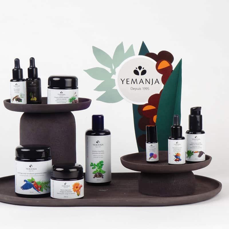 Ein Yemanja-Display mit mehreren Produkten.
