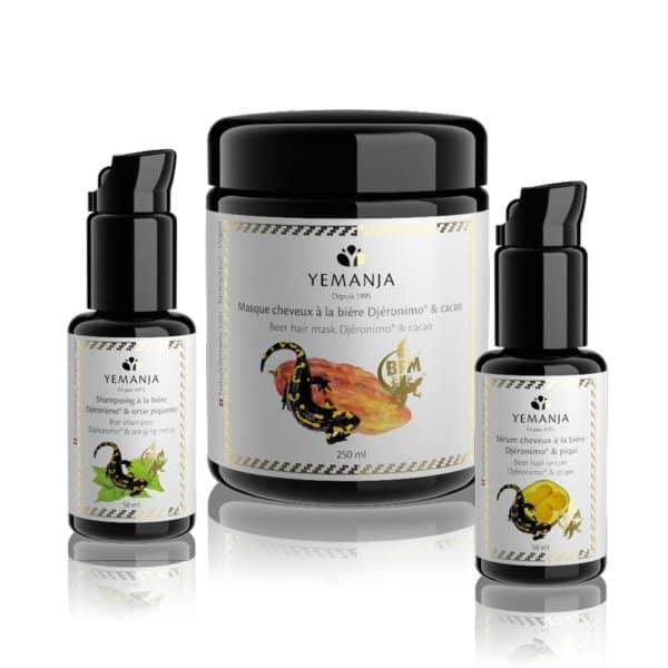 Les 3 produits du Rituel cheveux Yemanja, un shampoing, un masque et un sérum à la bière Djéronimo.